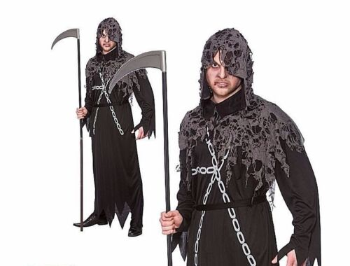 Adult ZOMBIE REAPER Grim Deathly Halloween Fancy Dress Costume Male Hooded Robe
