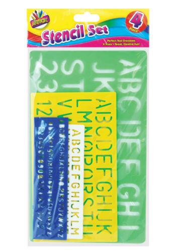 loc.D7 Artbox 4 Piece Size Stencil Set Letters Alphabet Craft Number Letter