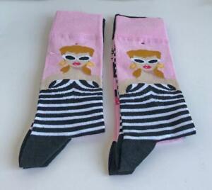 2-Pairs-Ladies-Mattel-Barbie-Logo-Socks-Adult-One-Size-Stretchy-New