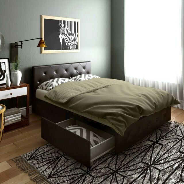 Full Size Bed Frame Upholstered Faux Leather Platform With Storage Drawers