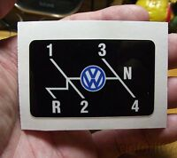 Vintage Vw Volkswagen Beetle Shift Pattern Decal With Logo, 2.5 X 1.5