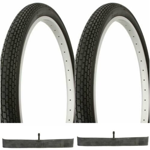 2 BLACK 24x2.125 BEACH CRUISER BIKE SMALL BRICK TIRES// TUBES fits SCWHINN