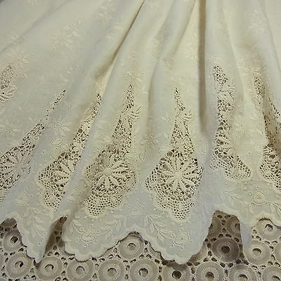 Vintage Style Embroidery Cotton Eyelet Lace Fabric Ivory 64cm Wide 1 yd