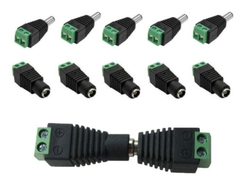 S020-Set 10 PEZZI DC Spina e boccole connettore 2,1x5,5mm con riflettore