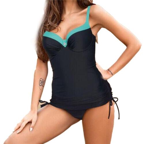 Damen Tankini Bikini Set Push Up Badeanzug Bademode Strand Schwimmanzug Gr.32-48