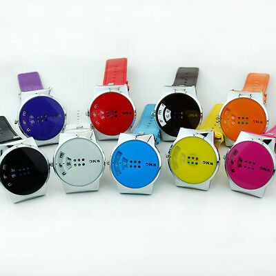 CH US New Spin Sport Ladies Womens Colorful Faux Leather Watch Chic 10 Colors