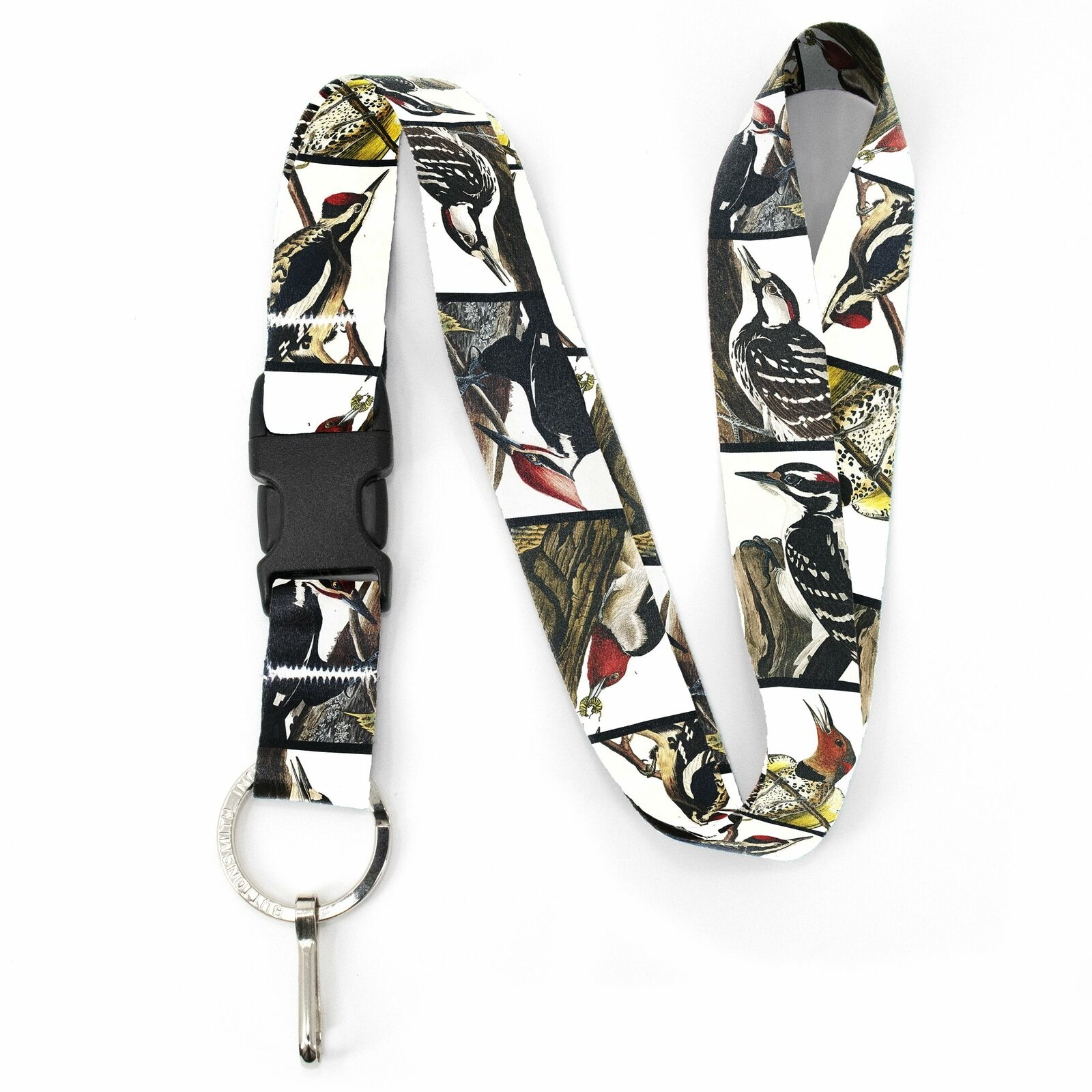 Buttonsmith Audubon Woodpeckers Premium Lanyard - with Buckle and Flat Ring - Ma