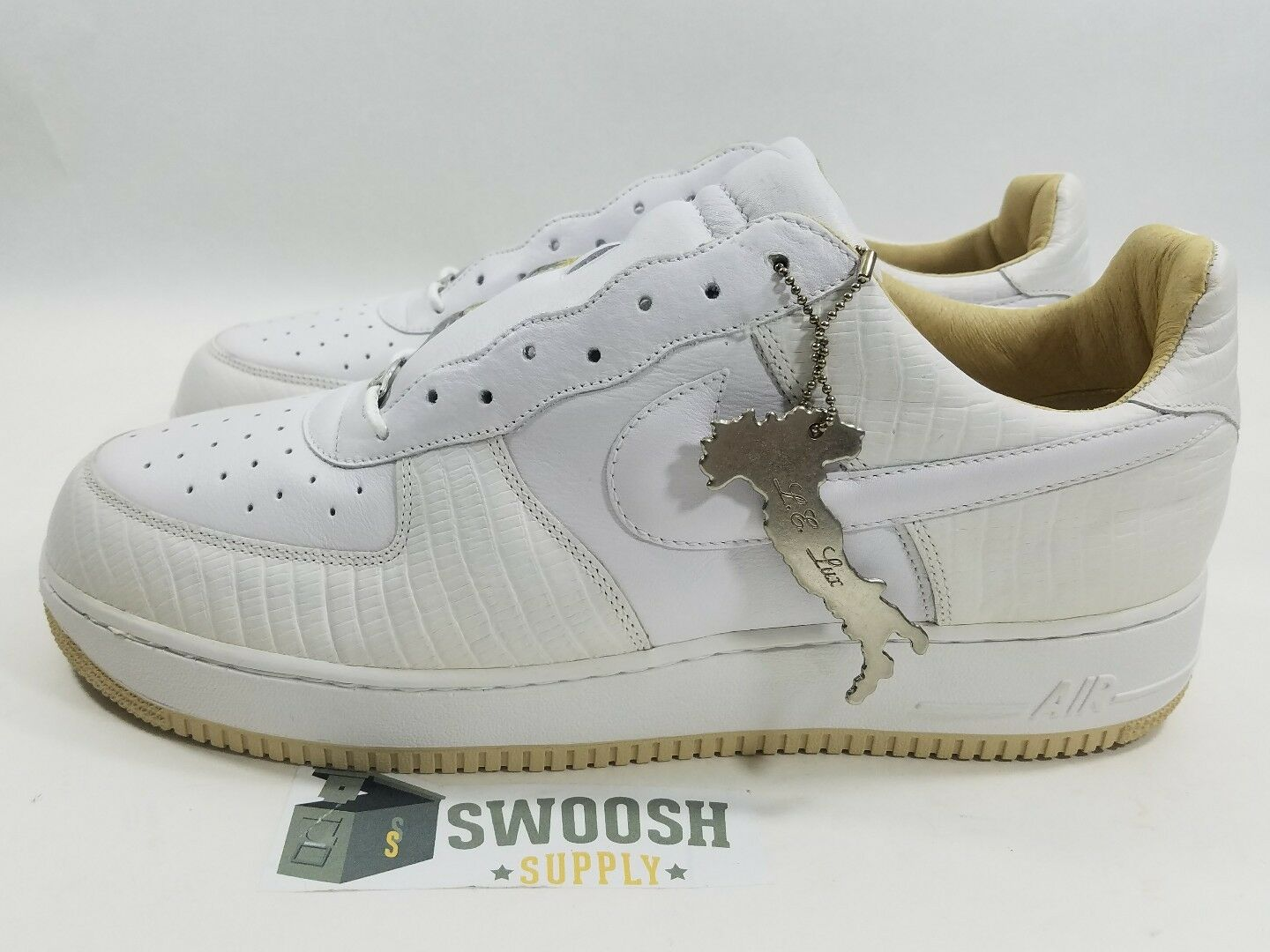 NIKE AIR FORCE 1 LUX ITALIAN LEATHER WHITE WHITE STRAW 310276 111 SIZE 12