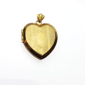 Vintage-Sweetheart-LadiFair-12K-Gold-Filled-Heart-Photo-Locket-Pendant-Necklace