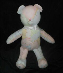 15-034-VINTAGE-HOUSE-OF-HATTEN-BABY-BLUE-PINK-TEDDY-BEAR-STUFFED-ANIMAL-PLUSH-LOVEY