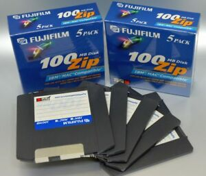 FujiFilm-100MB-Zip-Disk-5-Pack-Brand-New-Sealed-IBM-Formatted-Mac-Compatible