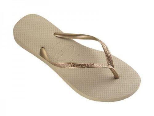 Havaianas Slim Girls Kids Sand Grey Rubber Flip Flops All Sizes