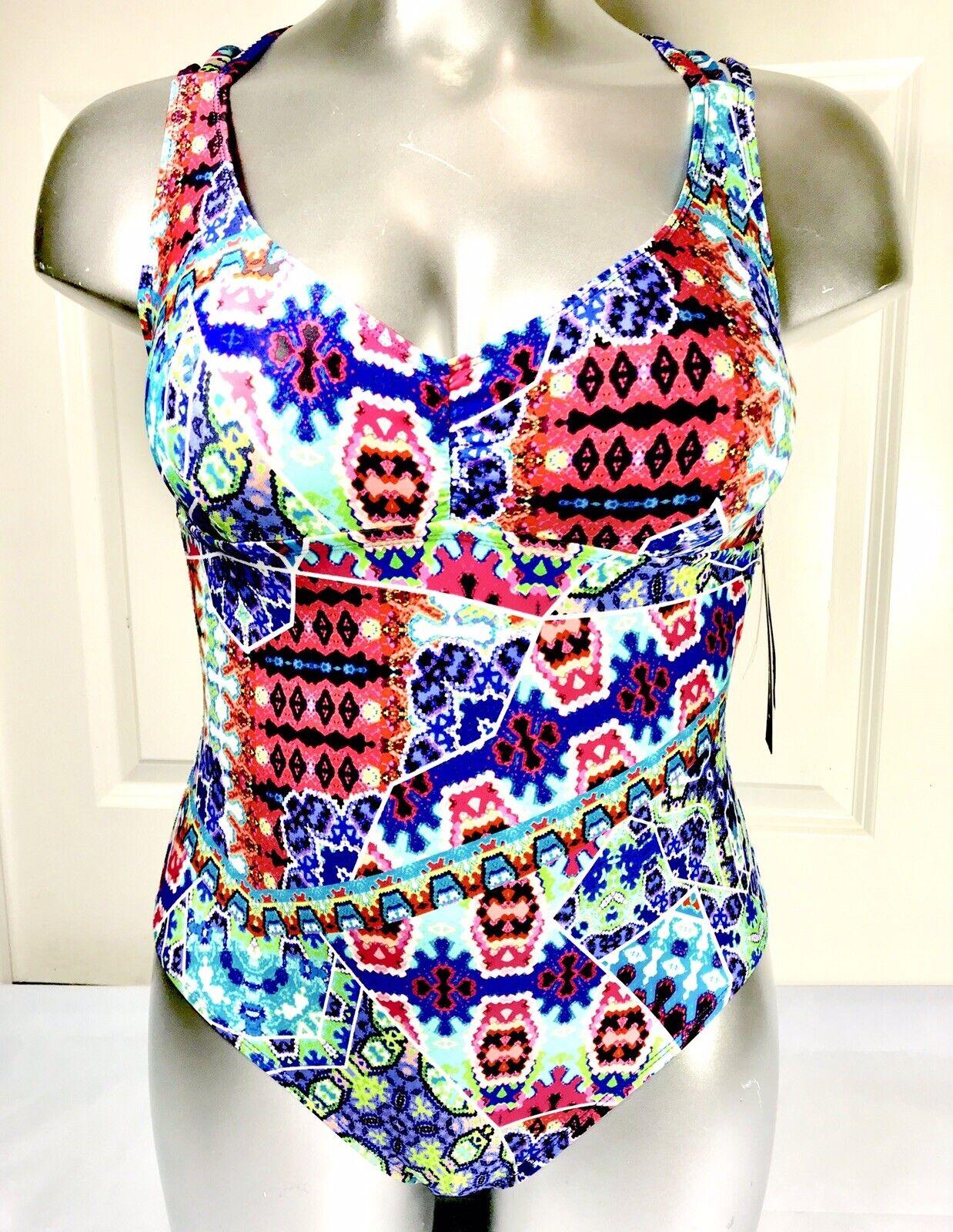 La whitea One-Piece Swimsuit Strappy 12 New Tummy Control