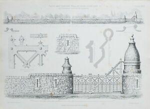 1868-Architektonisch-Aufdruck-Gates-amp-Garten-Wand-bei-Cove-Lochland-Thomson-Top