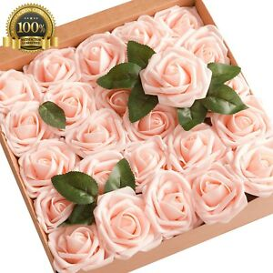 Ling moment artificial flowers blush pink roses 25pcs real looking image is loading ling moment artificial flowers blush pink roses 25pcs mightylinksfo