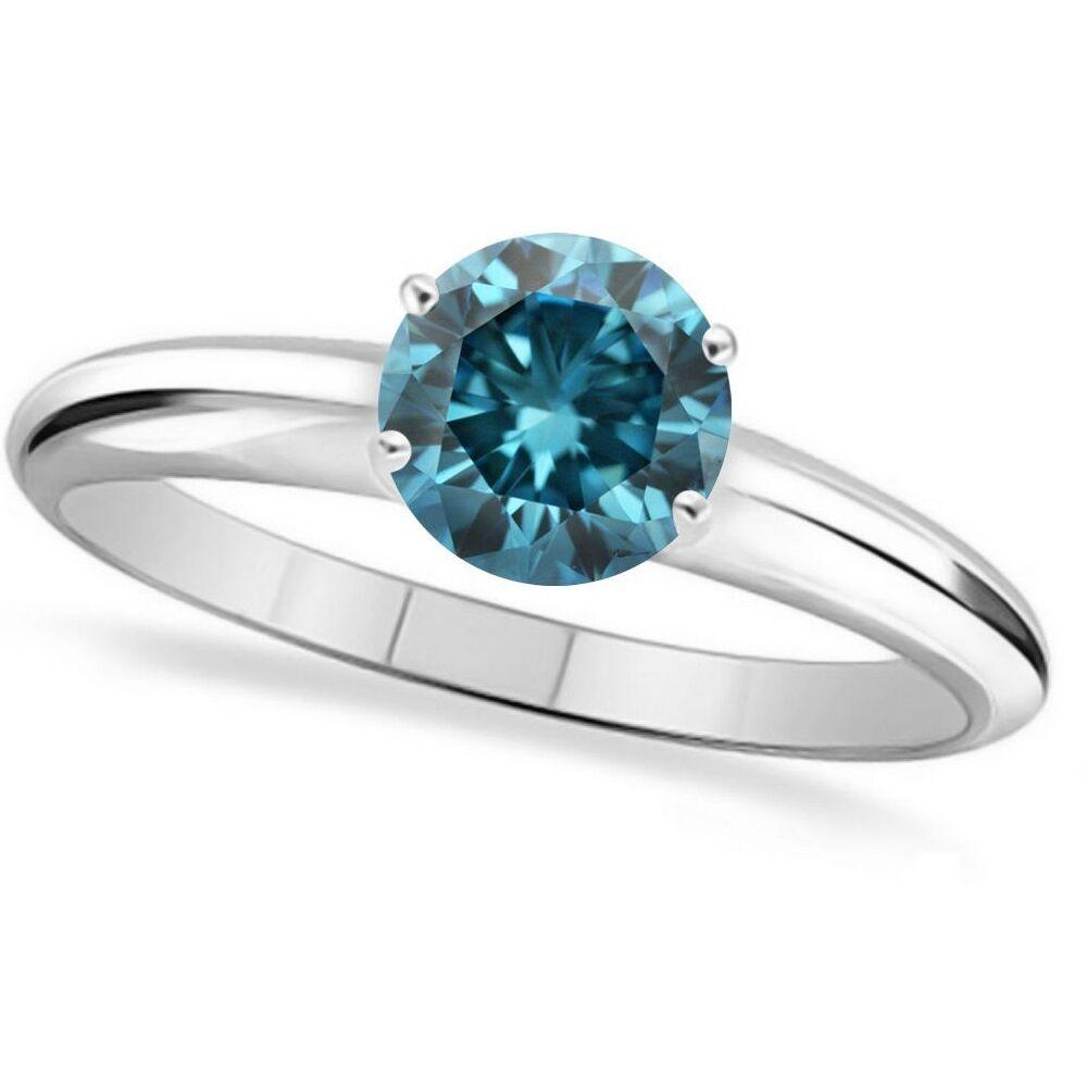 0.50 Ct Round blueee Diamond Solitaire Wedding Engagement Rings 14k White gold