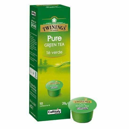 100 CAPSULE CAFFITALY SYSTEM TWININGS OF LONDON PURE GREEN TEA TE' THE VERDE