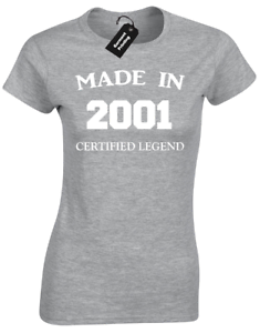MADE IN 2001 LADIES T SHIRT FUNNY 18TH BIRTHDAY PRESENT GIFT IDEA JOKE NOVELTY