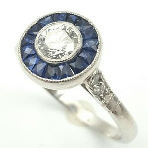 Vintage-Art-Deco18-K-White-Gold-0-50-ct-Diamond-1-00-ct-Sapphire-Engagement-Ring