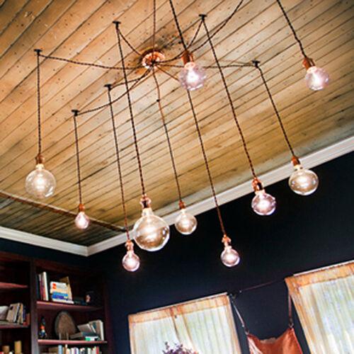 Large Custom vintage wire Edison lamp ceiling light fixtires UL Copper socket
