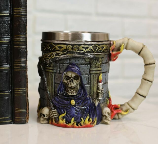 """Ebros Resin Day Of The Dead Holy Death Fire Grim Reaper 12oz Beer Stein Mug 6""""L"""