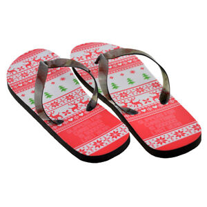 Christmas Jumper Novelty Design Mens Flip Flops One Size UK 8-11 - XFFS061