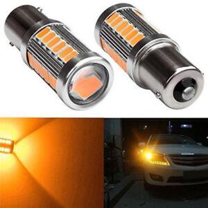 2PCS-Amber-P21W-1156-BA15S-LED-Bulb-5730-SMD-Super-Bright-Car-Light-bulbITH
