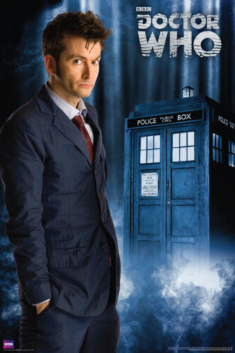 10th DOCTOR WHO David Tennant with TARDIS 24x36 TV Show Poster Mint condition