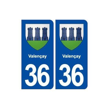 36 Valençay blason ville autocollant plaque stickers -  Angles : arrondis