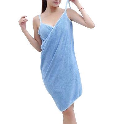 Wearable Bath Microfiber Towel Robe Fast Dry Women Bathrobe Spa Wrap Dress
