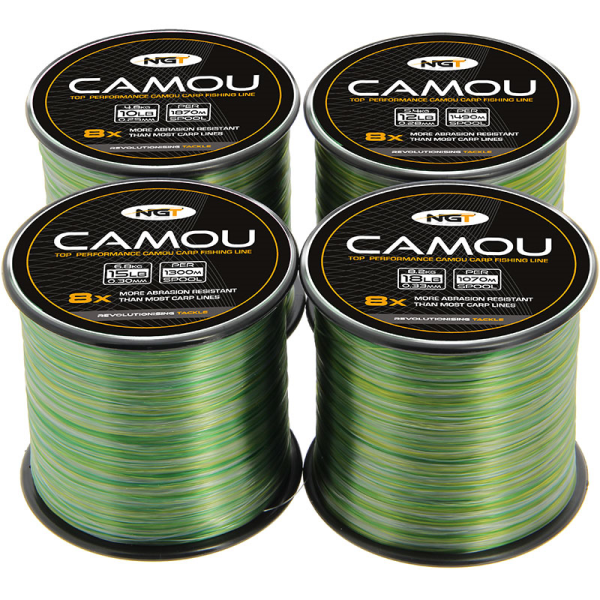NGT 2 x Bulk Spools Carp /& Coarse Fishing Line Camo Colour available in 8lb 10lb 12lb 15lb Breaking Strain