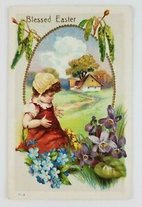 Postcard-Blessed-Easter-Girl-Baby-Chicks-Flowers-Farmhouse