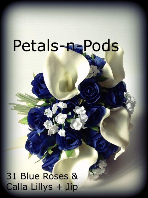 BLUE ROSES & CALLA LILLYS,JIP 36 BUDS WEDDING  BOUQUET ARTIFICIAL SILK FLOWER