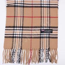 Women 100% CASHMERE Scarf Camel tartan Plaid Design Soft MADE IN SCOTLAND