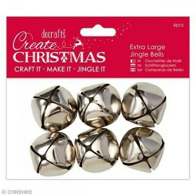 Pack Perfect Docrafts Papermania Extra Large Jingle Bells 6pcs-silver