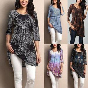 Plus-Size-UK-Women-Boho-Floral-Long-Sleeve-Blouse-Baggy-Tops-Tunic-Dress-T-Shirt