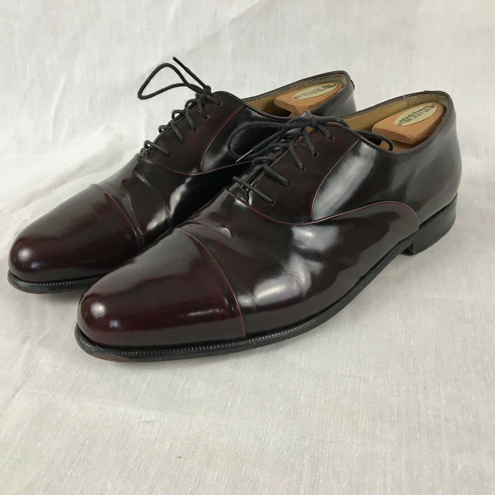 Nordstrom Burgundy Leather Cap Toe Oxford Dress shoes Men's Size 10.5 M (D)