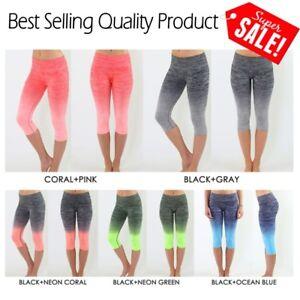 7205287278 New Women's Yoga Gym Workout Knee Length Capri Cropped Two-Tone ...