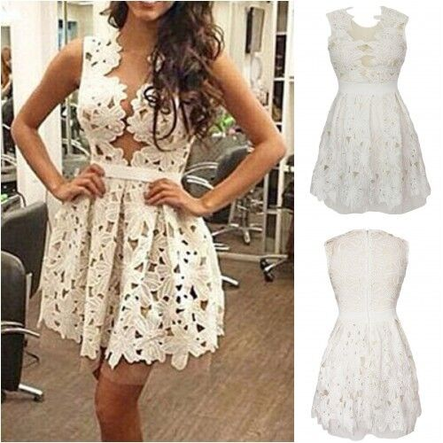 UK8-10 White Floral Lace Skater Dress with Sheer Mesh Underlay One Size
