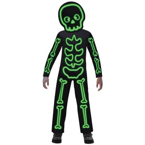 Kids Glow in the Dark Stick Skeleton Costume Boys Girls Halloween Fancy Dress