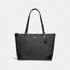 Coach F29958 Zip Top Tote In Signature Jacquard Handbag Shoulder Bag Purse Black