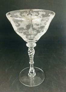Antique-Crystal-Etched-Floral-Stemware-Champagne-Sherbet-Cocktail-Swirled-Stem