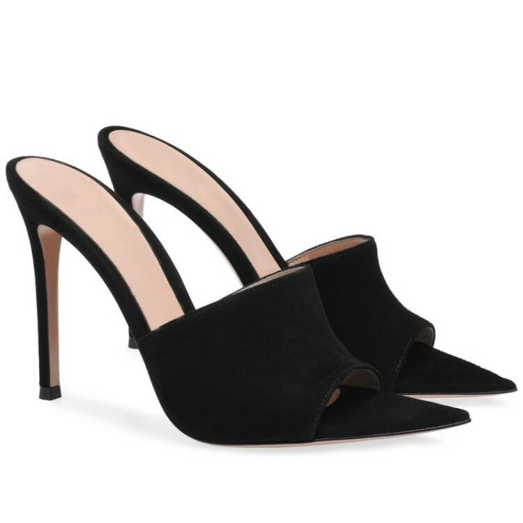 Sexy donna Peep Toe Stilettos High Heel Suede Slipper Summer scarpe Sandals Plus