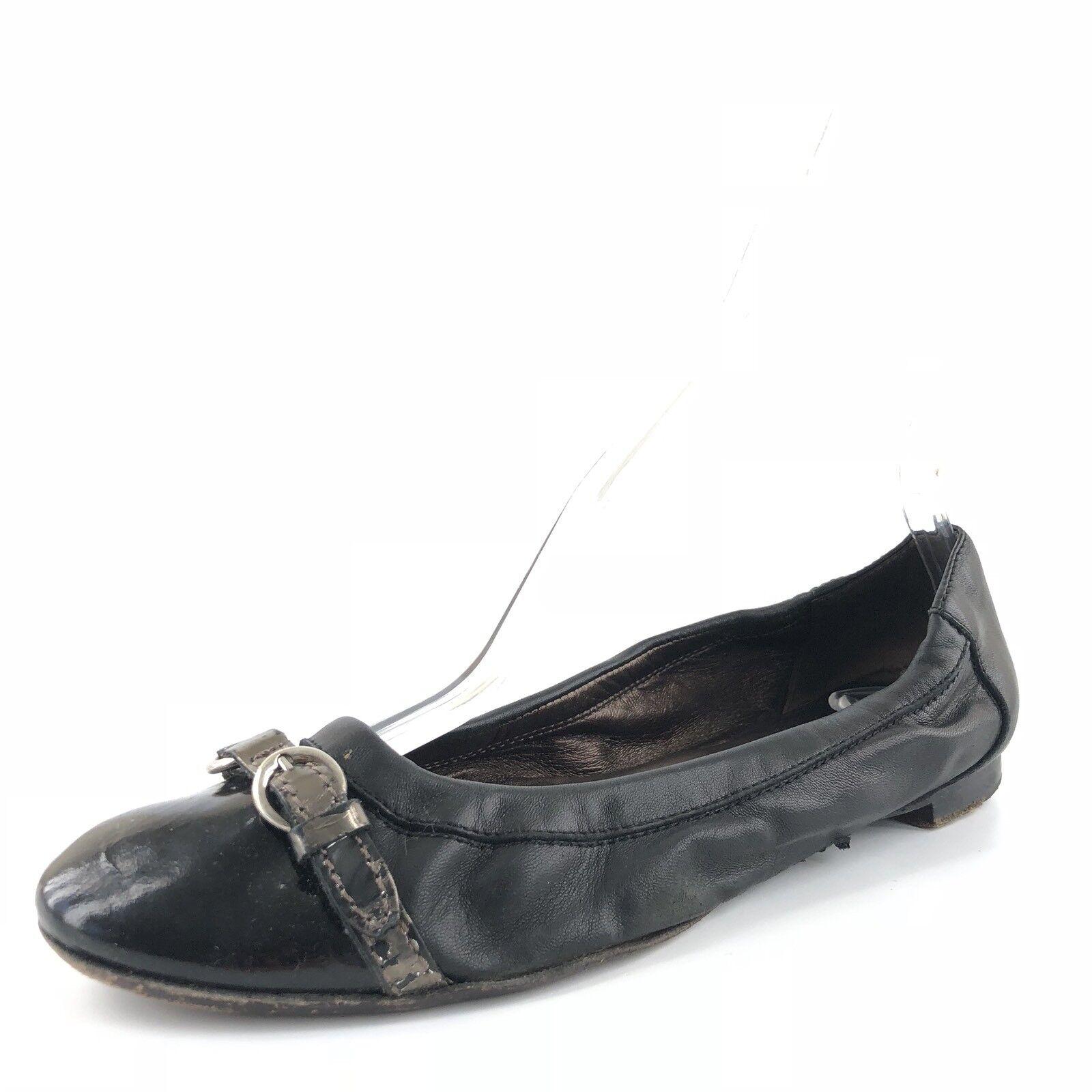 AGL Attilio Giusti Leombruni Womens Black Leather Toe Cap Ballet Flats Size 39 M