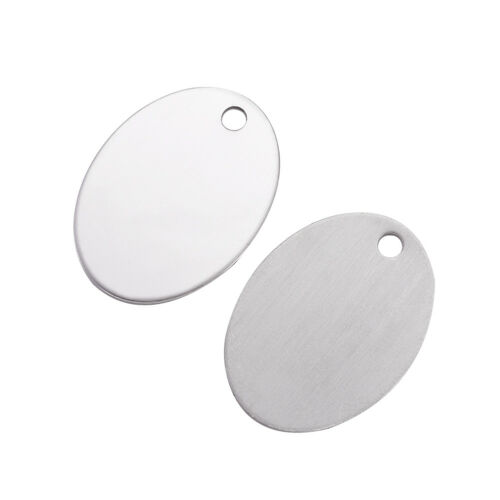 10pcs Stainless Steel Oval Tag Charms Stamping Blanks Big Pendant Smooth 30x22mm