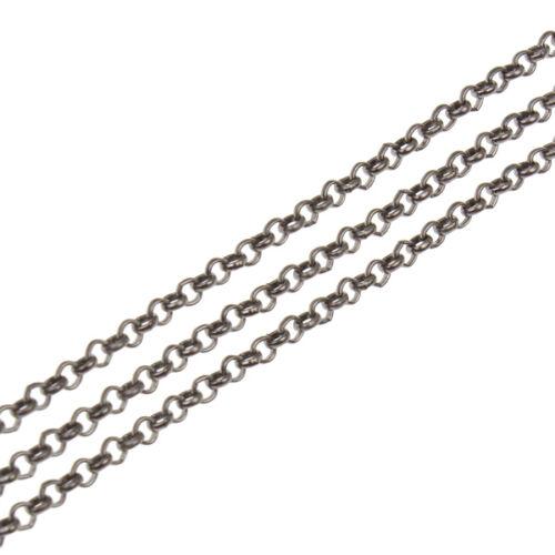 2m Chaine chainette Maille Jaseron Gunmetal 3,2mm maillon Chaîne jaseron