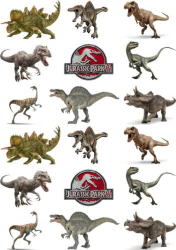 36 JURASSIC WORLD DINOSAUR  Edible Cup Cake Toppers Premium Wafer *STAND UP*
