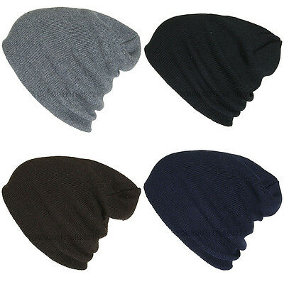 Plain Beanie Ski Cap Skull Hat Warm Solid Color Winter Cuff New Men's Women's