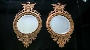 2-x-Victorian-gold-painted-cast-iron-eagle-mirrors-1892