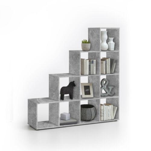 Raumteiler Mega 2 Bücherregal Regal in Beton Optik mit 10 Fächern udn Stufenform